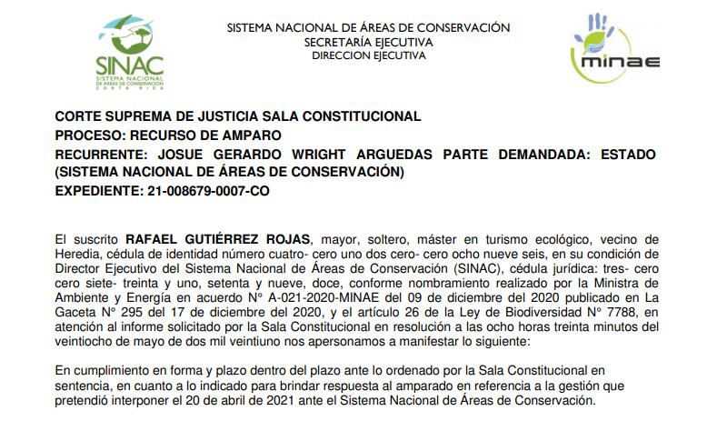 SINAC ratifica que La Arboleda se encuentra dentro de Zona de Amortiguamiento.